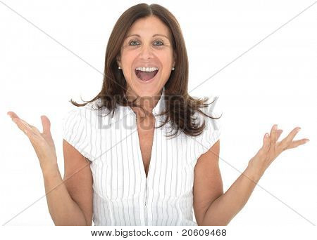 Portrait of an attractive senior businesswoman with her arms raised in celebration