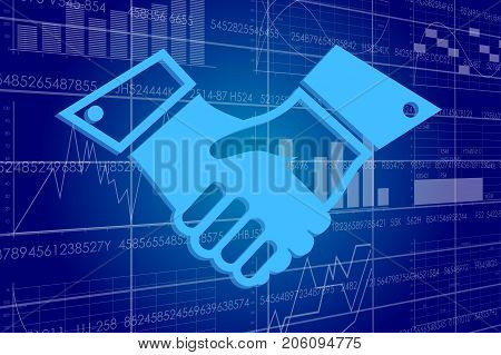 Vector illustration of the global business and digital technologies. Handshake on a background of a board with stock charts.