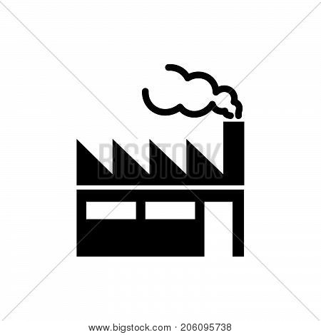 Industrial building icon factory iconic symbol on white background. Vector Iconic Design.