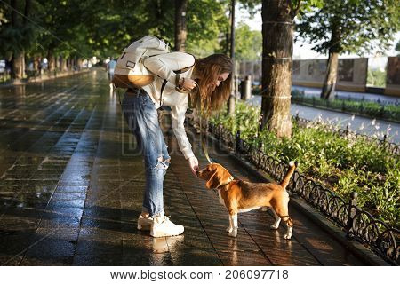 Full length side view image of young brunette woman in autumn clothes walks with dog in park
