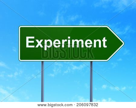Science concept: Experiment on green road highway sign, clear blue sky background, 3D rendering