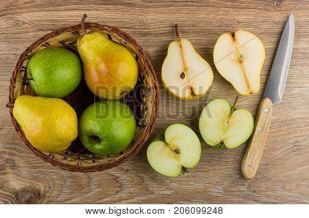 Apples, Pears In Wicker Basket, Cross Section Of Fruits