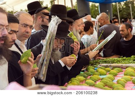 JERUSALEM, ISRAEL - OKTOBER 16, 2016: Traditional market before the holiday of Sukkot. Buyers - religious Jews crowded near the counter with ritual plant - etrog and myrtle