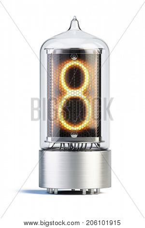 Nixie tube indicator isolated on white - set of decimal digits. Number 8 - 3d rendering