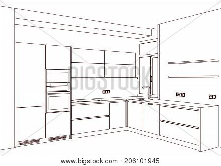 3D vector sketch. Modern kitchen design in home interior. Kitchen sketch. There is also kitchen appliances and decorations.