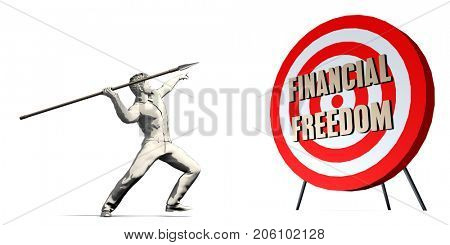 Financial Freedom Goal with Businessman Targeting Concept 3D Illustration Render