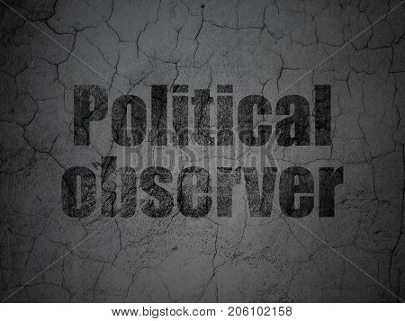 Politics concept: Black Political Observer on grunge textured concrete wall background
