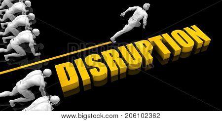 Disruption Leader with a Man Having a Head Start 3D Illustration Render