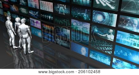 Multimedia Technology with People Staring at Screens 3D Illustration Render