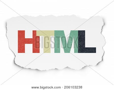 Database concept: Painted multicolor text Html on Torn Paper background