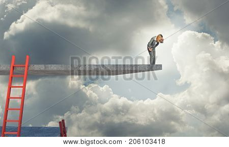 businesswoman look down from 3d abstract platform
