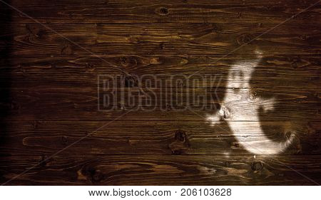 Halloween Background With Shadow Of Ghost On Wooden Background. Silhouettes Of Ghost For Halloween.
