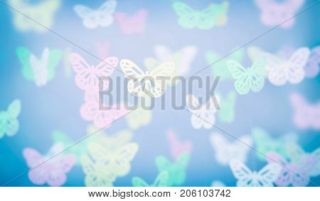 Abstract butterfly background, cute little baby room decoration, beautiful girly greeting card in a pastel colors, tender wedding invitation