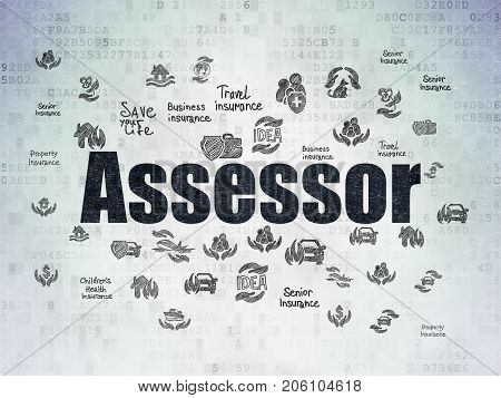 Insurance concept: Painted black text Assessor on Digital Data Paper background with  Hand Drawn Insurance Icons