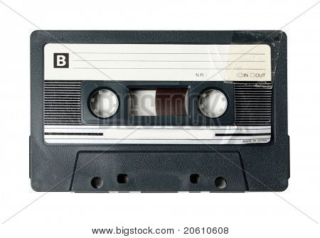 Black Compact Cassette on white background