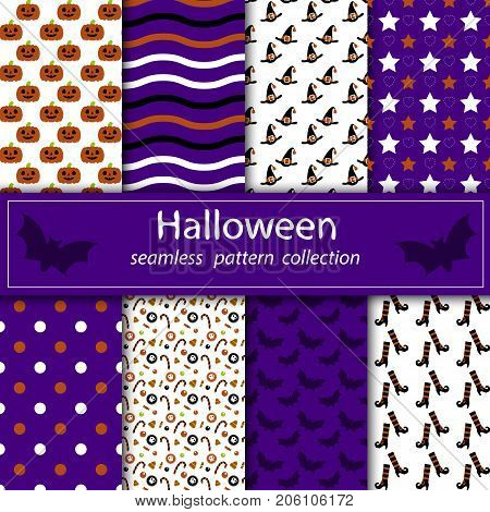 A set of paintings. Stock vector seamless plum fabric Halloween orange purple. happy holiday.