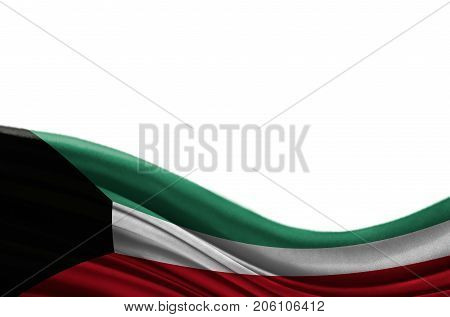 Grunge colorful flag Kuwait with copyspace for your text or images,isolated on white background. Close up, fluttering downwind.