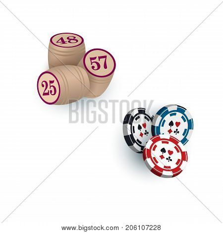 Wooden kegs for bingo lotto game and casino chips, tokens, vector illustration isolated on white background. Group of casino, gambling chips, tokens and bingo kegs