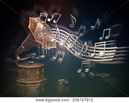Gramophone with golden notes. Music art background. 3d illustration