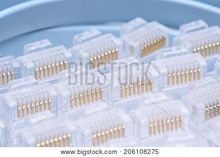 Group of rj45 plugs for network cables