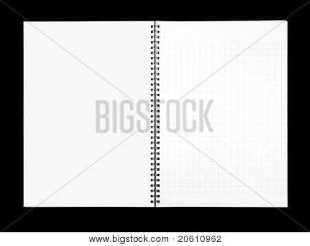 Empty blank ring, spiral notepad, two pages