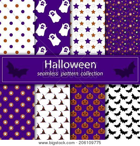 A set of paintings. Stock vector seamless plum fabric Halloween orange purple. happy and merry holiday. Flying Ghost.