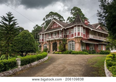 A British-style house at downtown in Pyin Oo Lwin, Myanmar. The small town of Pyin Oo Lwin is a reminder of the British colonial times in Myanmar.