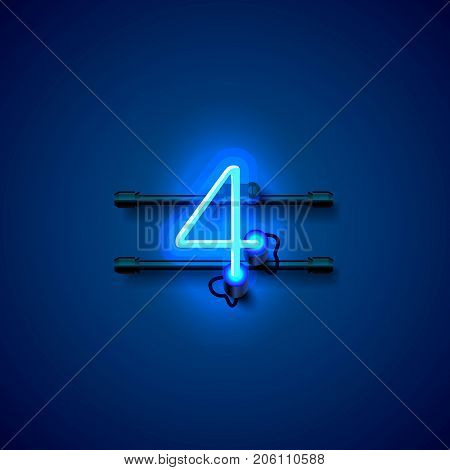 Neon city font sign number 4, signboard four. Vector illustration