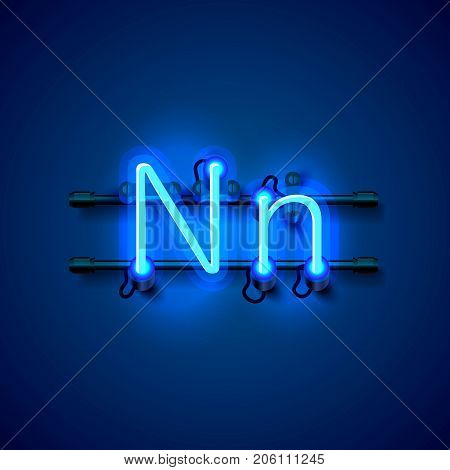 Neon font letter n, art design singboard. Vector illustration