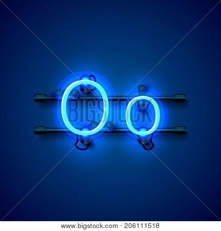 Neon font letter o, art design singboard. Vector illustration