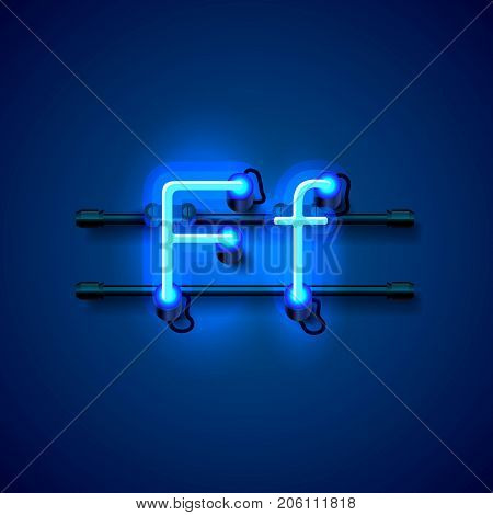 Neon font letter f, art design singboard. Vector illustration