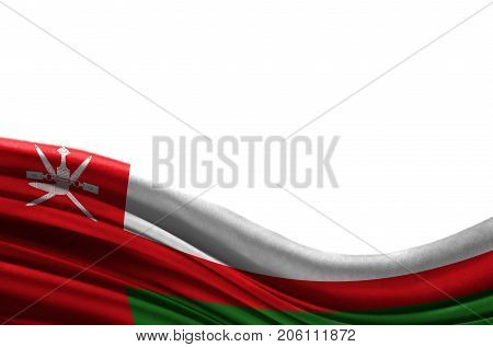 Grunge colorful flag Oman with copyspace for your text or images,isolated on white background. Close up, fluttering downwind.