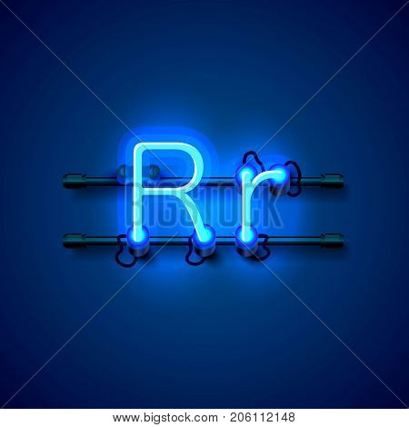 Neon font letter r, art design singboard. Vector illustration