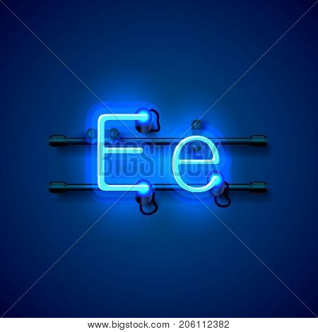 Neon font letter e, art design singboard. Vector illustration