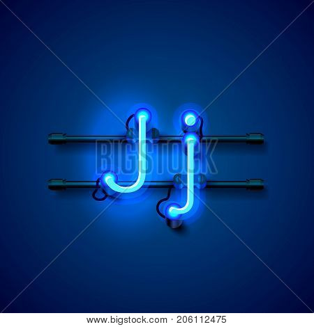 Neon font letter j, art design singboard. Vector illustration