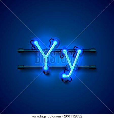 Neon font letter y, art design singboard. Vector illustration