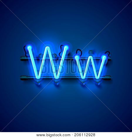 Neon font letter w, art design singboard. Vector illustration