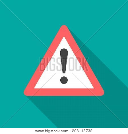 Attention icon with long shadow. Flat design style. Warning simple silhouette. Modern minimalist icon in stylish colors. Web site page and mobile app design vector element.