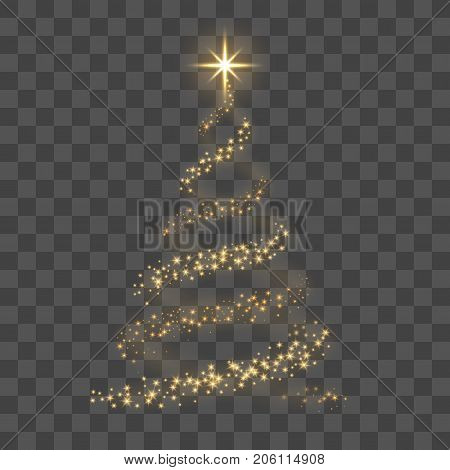Christmas tree on transparent background. Gold Christmas tree as symbol of Happy New Year holiday Merry Christmas celebration. Golden light Christmas tree. Shiny design Vector illustration