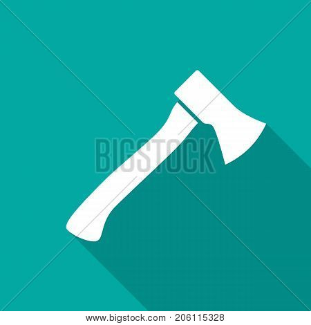Axe icon with long shadow. Flat design style. Axe simple silhouette. Modern flat icon in stylish colors. Web site page and mobile app design vector element.