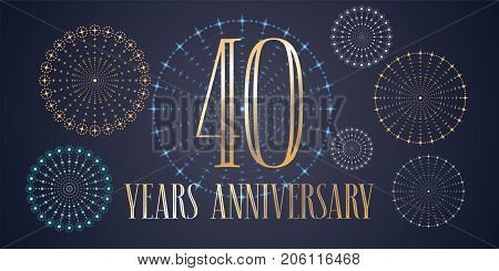40 years anniversary vector icon, logo. Template design, banner with fireworks for 40th anniversary greeting card, can be used as decoration element