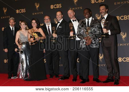 LOS ANGELES - SEP 17:  VEEP Cast at the 69th Primetime Emmy Awards - Press Room at the JW Marriott Gold Ballroom on September 17, 2017 in Los Angeles, CA