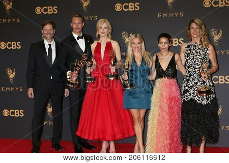 LOS ANGELES - SEP 17: J Nording, A Skarsgard, N Kidman, Reese Witherspoon, Zoe Kravitz, L Dern at the Emmy Awards - Press Room at the JW Marriott Gold Ballroom on September 17, 2017 in Los Angeles, CA