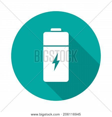Battery circle icon with long shadow. Flat design style. Battery simple silhouette. Modern minimalist round icon in stylish colors. Web site page and mobile app design vector element.
