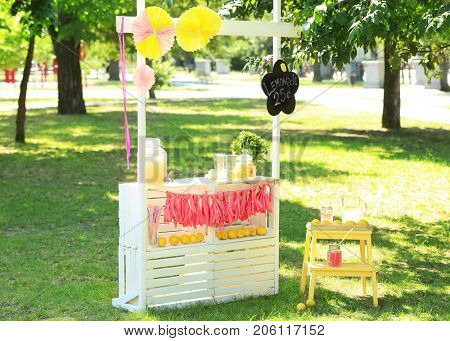 Wooden lemonade stand in park