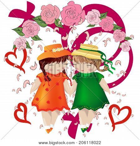 Lesbian Couple. Two Girls Holding Hands In A Frame Of Roses, Falling Petals And The Symbol Of A Gay