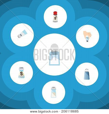Flat Icon Flavor Set Of Condiment, Sodium, Pour And Other Vector Objects