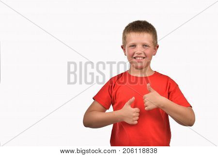 The boy has a good mood. An isolated boy. A man in a red T-shirt.