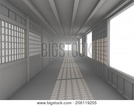 blank white  neutral hallway corridor, 3d render illustration