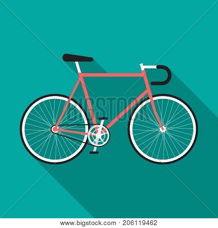 Bicycle icon with long shadow. Flat design style. Fixed-gear simple silhouette. Modern minimalist icon in stylish colors. Web site page and mobile app design vector element.